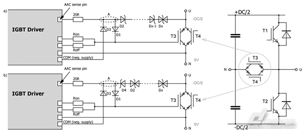 a)标准IGBT和b) RB-IGBT的高级有源钳位电路