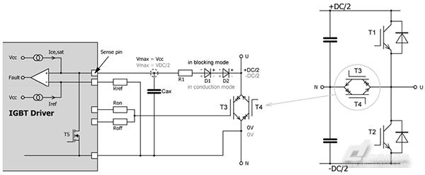 使用高压二极管的退饱和监控功能