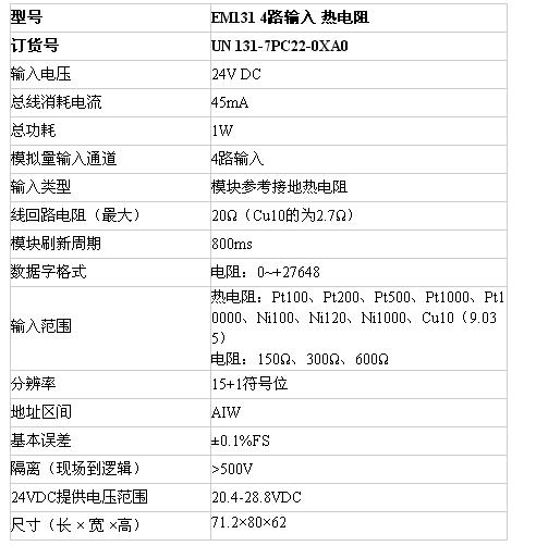 亿维UN 131-7PC22-0XA0温度模块