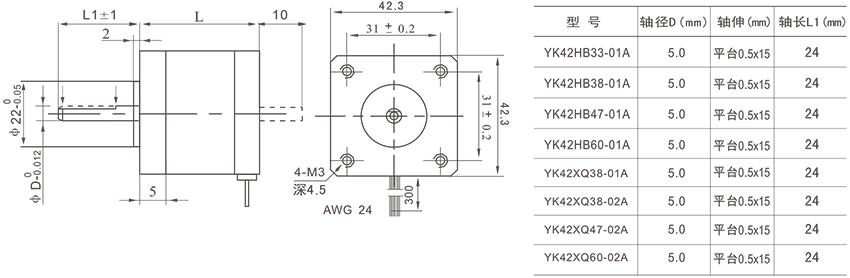 研控42mm系列两相步进电机