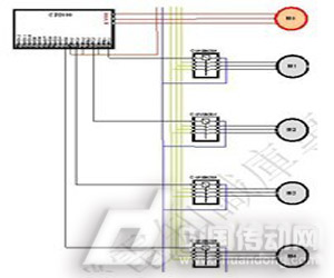 图7 以4台电机为例定量控制配线图(最多8台电机)
