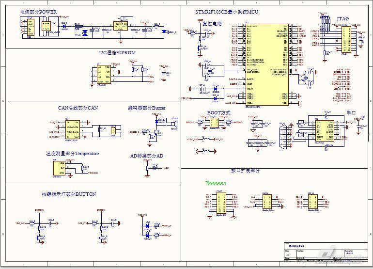 整体电路设计   整体电路设计元器件包括:stm32f103c