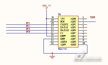 tlc2543的ain0端接经放大电路后的模拟信号