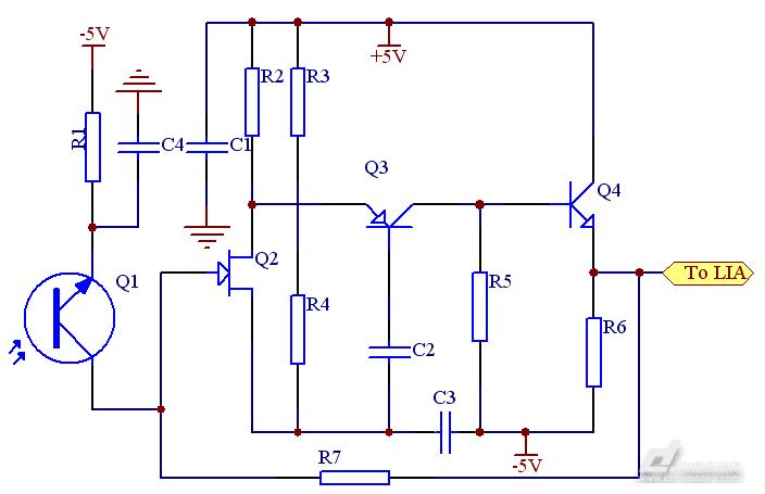 图5探测器前置放大电路原理图