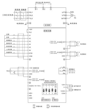 若电机本身提供速度编码器信号,可以采用v6−h系列变频器,做闭环