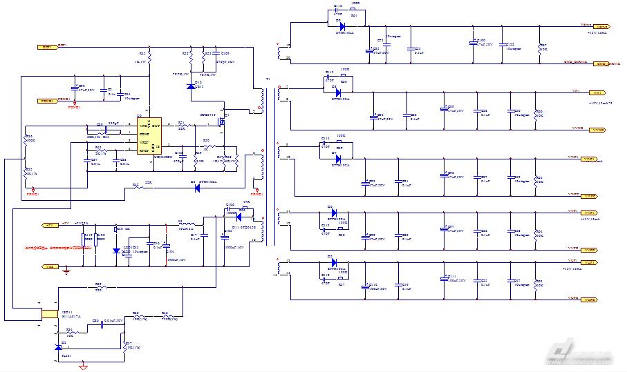 为了保证开关电源的设计指标满足使用要求,电路中选用的电解电容都要使用电源专用品,以减少所有输出电压的纹波电压,减小电源对电路中其他电子元件的干扰。  图 5 开关电源原理图 另外,本文中只介绍了变频器的主回路,开关电源,以及IGBT驱动电路的原理图设计工作。完成原理图的设计后,还需要进行相应的PCB设计,这部分不作为本文的主要内容进行阐述。但是我们要注意的是包括三相整流桥和IPM PM25RL1Al20以及开关电源中使用的MOFET管,这些功率器件都是发热量大的功率器件,因此在PCB布局时,必须考虑变频器