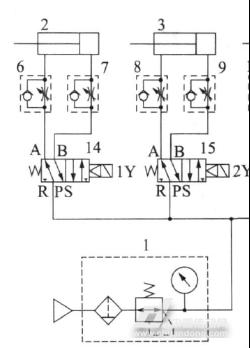 3气动机械手的气动原理图