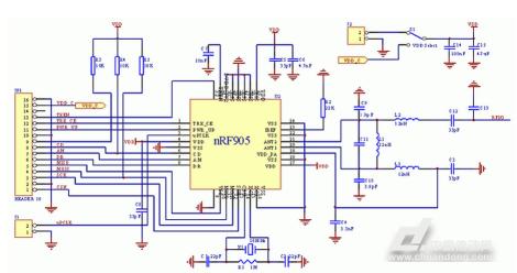 2硬件电路连接   发射接收芯片nrf905的硬件连线如图2所示.   2.