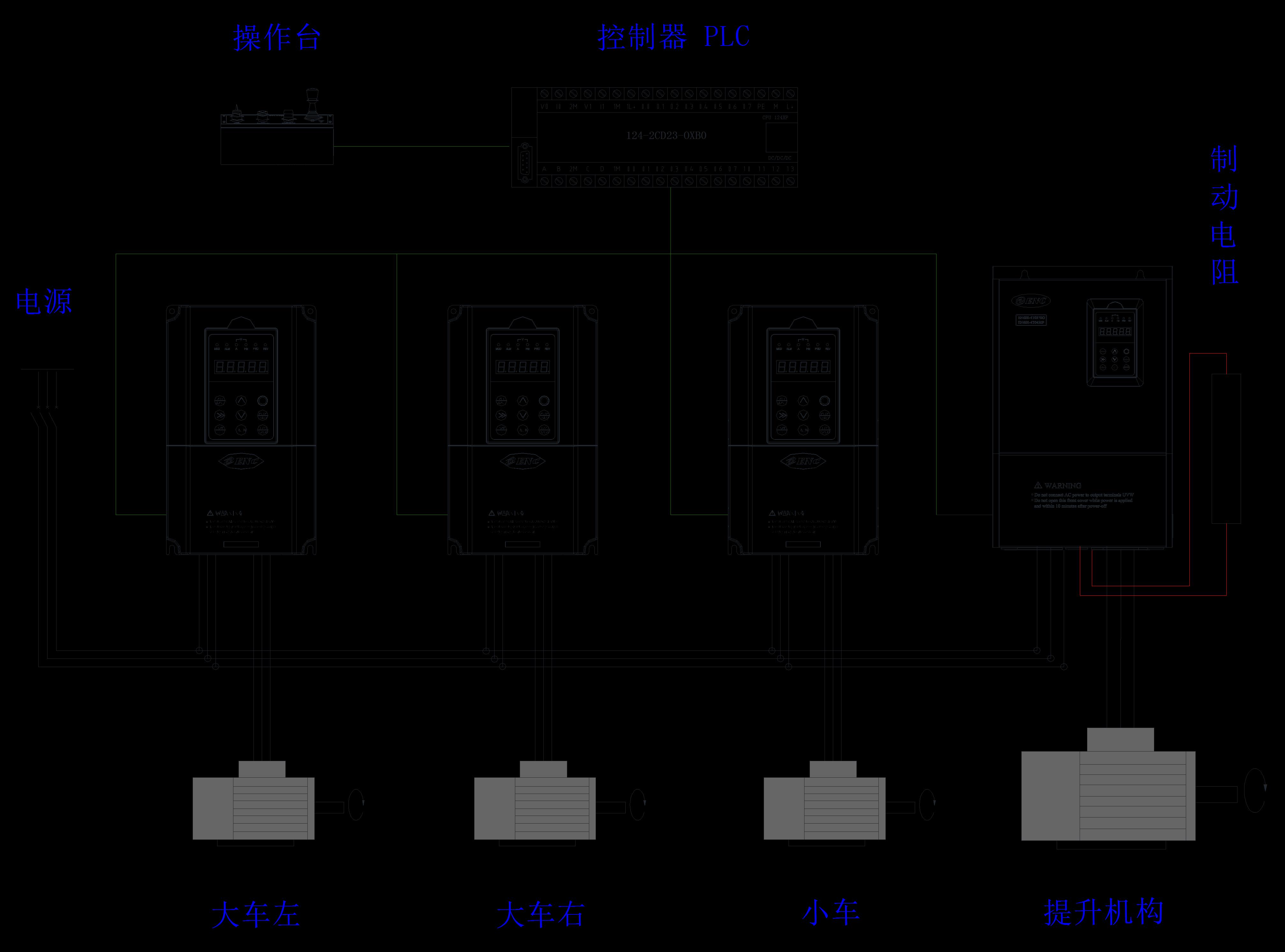 EN600系列高性能磁通矢量变频器+行车 更安全、更精确,更稳定、更快速 让您也稳得住~ 行车是大型制造业制造车间中重要的起重设备,不仅具有起重功能,还能控制行走。因此在运作过程中对其运动的平稳性、安全可靠性有很高要求。其行走控制方式有两种:1、用一台电动机带动长传动轴驱动两边的主动车轮;2、两边的主动车轮各用一台电动机驱动。 行车负载工作特点与结构工艺  行车能实现前后、左右、垂直三个方向运动,包含由垂直工作的提升机构,前后运行的大车机构,左右运行的小车机构三部分组成。 提升机构包含电机、减速箱、绞盘和