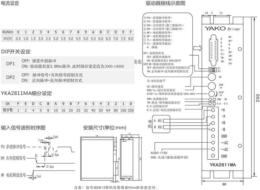 研控yka2811ma两相混合式步进驱动器